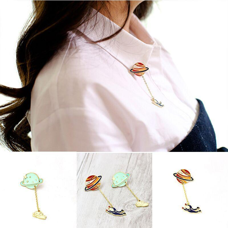 ENAMEL BROOCH Accessory Women Collar Tip Chain Pendant Christmas Gift Jewelry EL