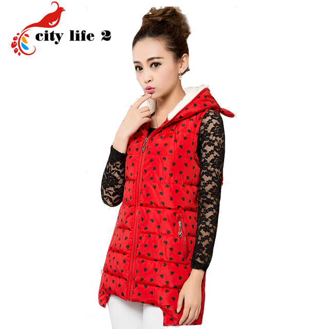 Long Cotton Vest Female Autumn And Winter Women Korean Fashion Hooded Vest Thick Loving Heart Print Cute Ear Waistcoat