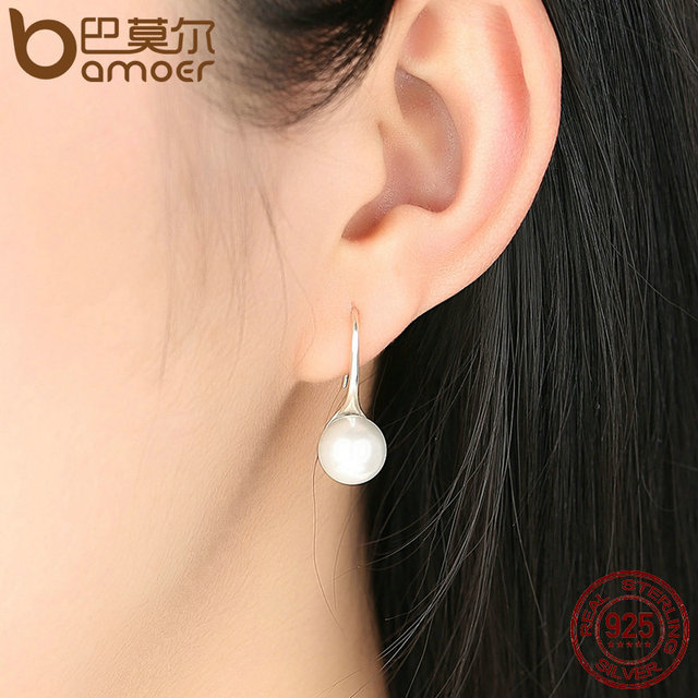 925 Sterling Silver Pearl Drop Earrings 3