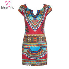 African Dresses for Women Female Shirt Dresses Dashiki Clothing Vintage Traditional Print Bodycon boho Tunic Mini Beach Dress(China)