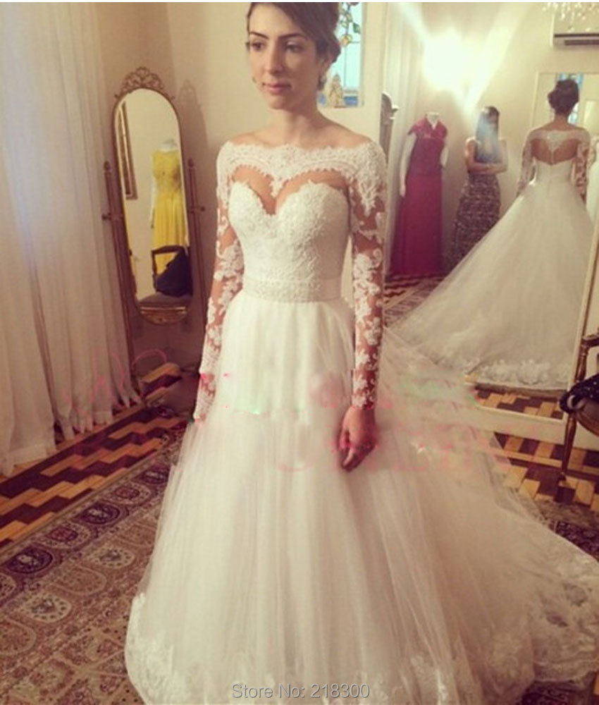 777544b88e9 Vintage Modest Wedding Dresses Long Sleeves Ball Gown Lace Bridal ...