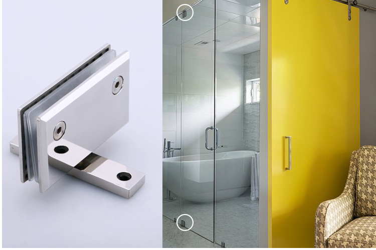 Square bevel 360degree rotate stainless steel bathroom glass clamp/clip/hinge,mirror finish,for 48pcs,ship to India