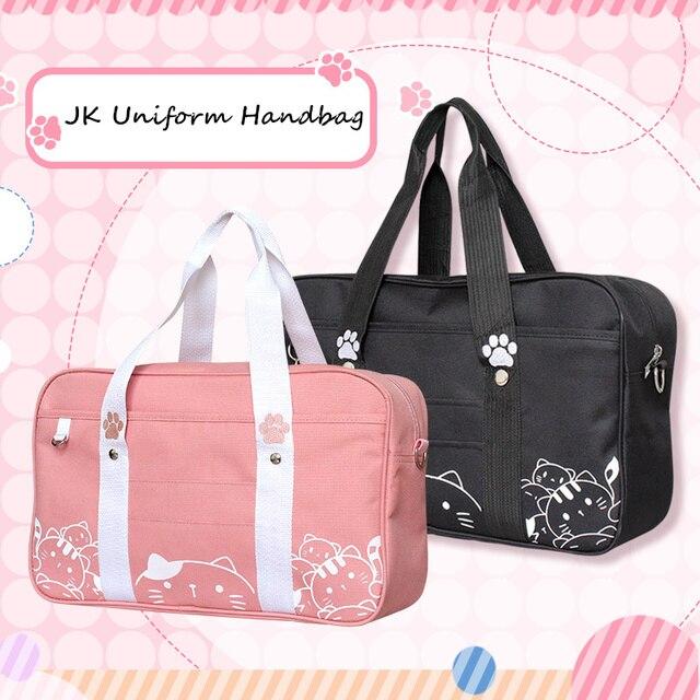 Bolso de uniforme JK de estilo japonés para mujer, bandolera de gato Kawaii a la moda, bolso de hombro de colegio Bolsa Bandolera de viaje