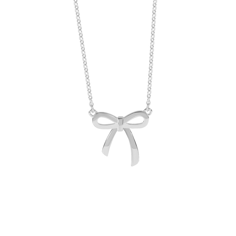 925 Sterling Silver Sweet Bow-knot Necklace Fashion Pendant Women Tiff Design Choker Jewelry Elegant Ornaments Gifts original dropshipping my sweet pet paw love necklace girl 925 sterling silver pendant necklace for women fashion jewelry gifts