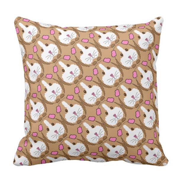 Home & Garden Kawaii Whimsical Brown Guinea Pigs Throw Pillow Case Cute Guinea Pigs Pattern Cushion Cover For Kids Girl Boy Funny Novelty Gift Cushion Cover
