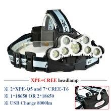 Faro luminoso eccellente 9 LED del faro del CREE XML T6 usb ricaricabile testa della lampada 18650 batteria lampada frontale ad alta potenza ha condotto la testa torcia