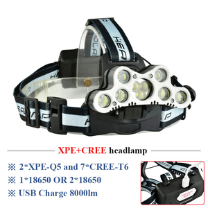 Image 1 - super bright headlamp 9 LED headlight CREE XML T6 usb rechargeable head lamp 18650 battery headtorch high power led head torch