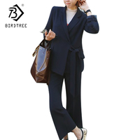 Autumn Spring Female Elegant Belt Blazer Pants Suits Women Set Office Ladies OL Navy Pencil Pants