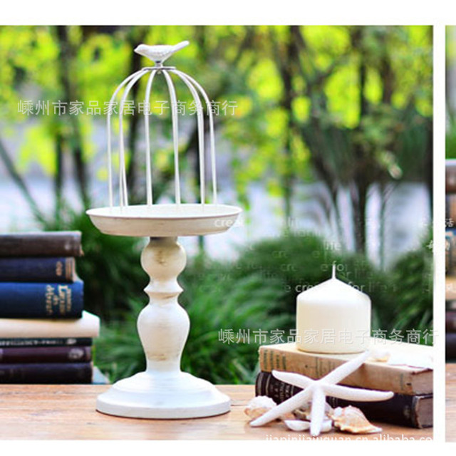 Wholesale furniture Decoration Iron Candle Holders Candlestick Bracken flowers with base