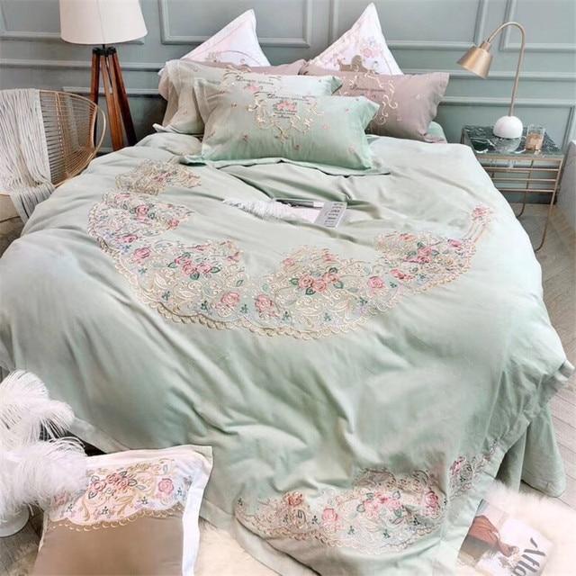 Home Textile Elegant embroidery Bedding Sets egyptian cotton Duvet Cover Pillowcase Sheet Linen Queen King Size 4/7Pcs