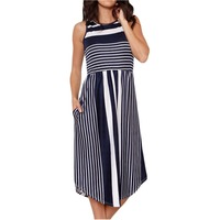 e2d8602e9f75af Summer Dress Women Casual Long Dresses Fashion Stripes Sleeveless O Neck  Mid Calf Dress Street Beach