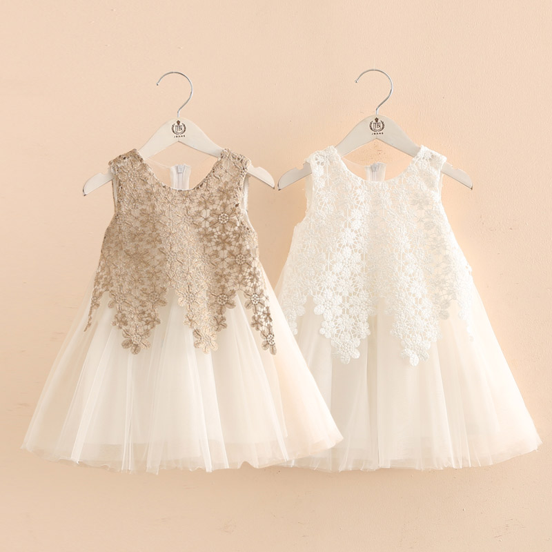 2018 Summer Female Child Children'S Clothing Baby Girl Patchwork Flower White Sleeveless Chiffon Cute Lolita Style Dress юбка other flower lolita b113