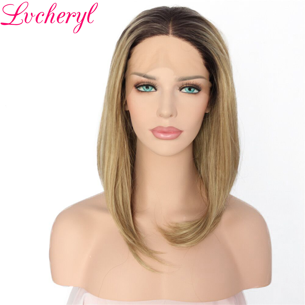 Lvcheryl Ombre Dark Roots To Blonde Short Bob Hand Tied Full Density Heat Resistant Synthetic Lace Front Wigs for Women