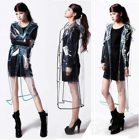 Бесплатная доставка модные женские прозрачные EVA плащ Открытый Путешествие водонепроницаемый плащ-дождевик