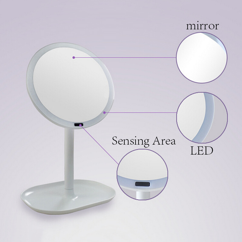 Induction LED Desktop Makeup Mirror Round Shape Cosmetic Vanity Rotating Mirror Stand Mirror Portable Plane Mirror Makeup Tool large 8 inch fashion high definition desktop makeup mirror 2 face metal bathroom mirror 3x magnifying round pin 360 rotating