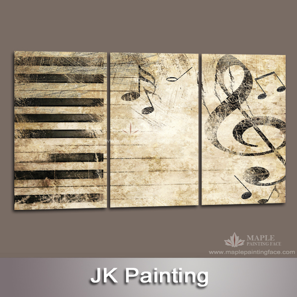 Large 3 Piece Canvas Art Decor Painting of Music Melody Wall ...