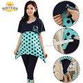 Polka Dot Mulheres de Algodão de Verão Para Mulheres Grávidas Desgaste de Maternidade Chique Roupas Lactação Para Alimentação Roupas de Enfermagem Camisola de Pijama
