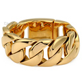 31mm Mens Gold Tone Gold Plated Super Heavy Thick 316L Stainless Steel Round Curb Cuban Chain Gift Bracelet LHB127