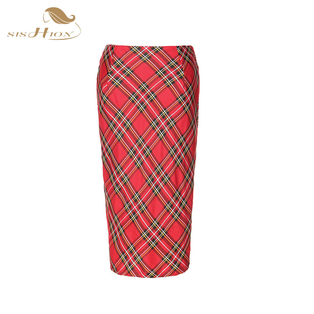 SISHION High Waist Office Bodycon Midi Skirt Red Plaid Fashion Knee Length Slim Elegant Fashion Pencil Skirt VD0365R