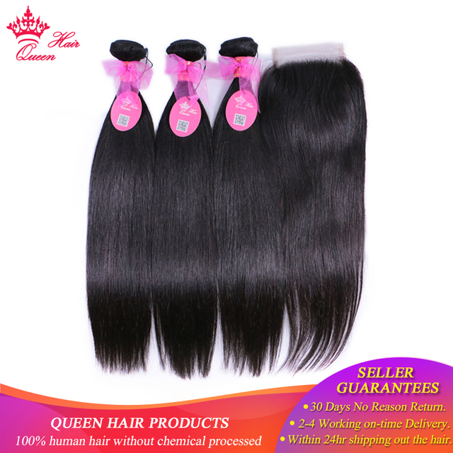 Queen Hair Products 100% Human Hair Brazilian Straight 3 Bundles With Closure Virgin Hair Extensions Natural color Lace Closure