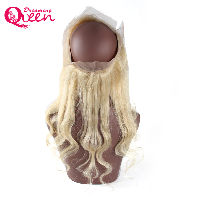 Pre Plucked # 613 360 Lace Frontal Closure Blond Färg Body Wave Hair - Mänskligt hår (svart) - Foto 2