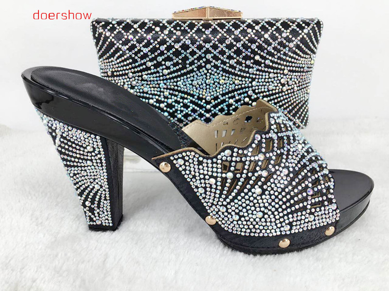 doershow fashion design African Shoes And Matching Bags black Italian Shoes And Bags Set with sequins For Wedding&party Hlu1-24 doershow fast shipping fashion african wedding shoes with matching bags african women shoes and bags set free shipping hzl1 29