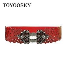 Woman Cummerbunds All-match Vintage Hollow Black Elastic Band Carved Crown Pattern Belt for High Quality Luxury Brand