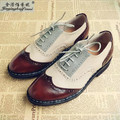 Free Shipping 2017 new hot British style retro style handmade leather shoes brogue College Oxford shoes for men 28cm lace Flats