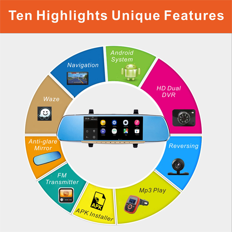 New Android Car Rear View Mirror with 7 Inch capacitive touch screen GPS Navigation built in Rotatable Dash Camera 1