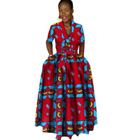 African Clothing for Women Plus Size Print Cotton African Batik Dresses African Bazin Riche Long Dress with Embroidery