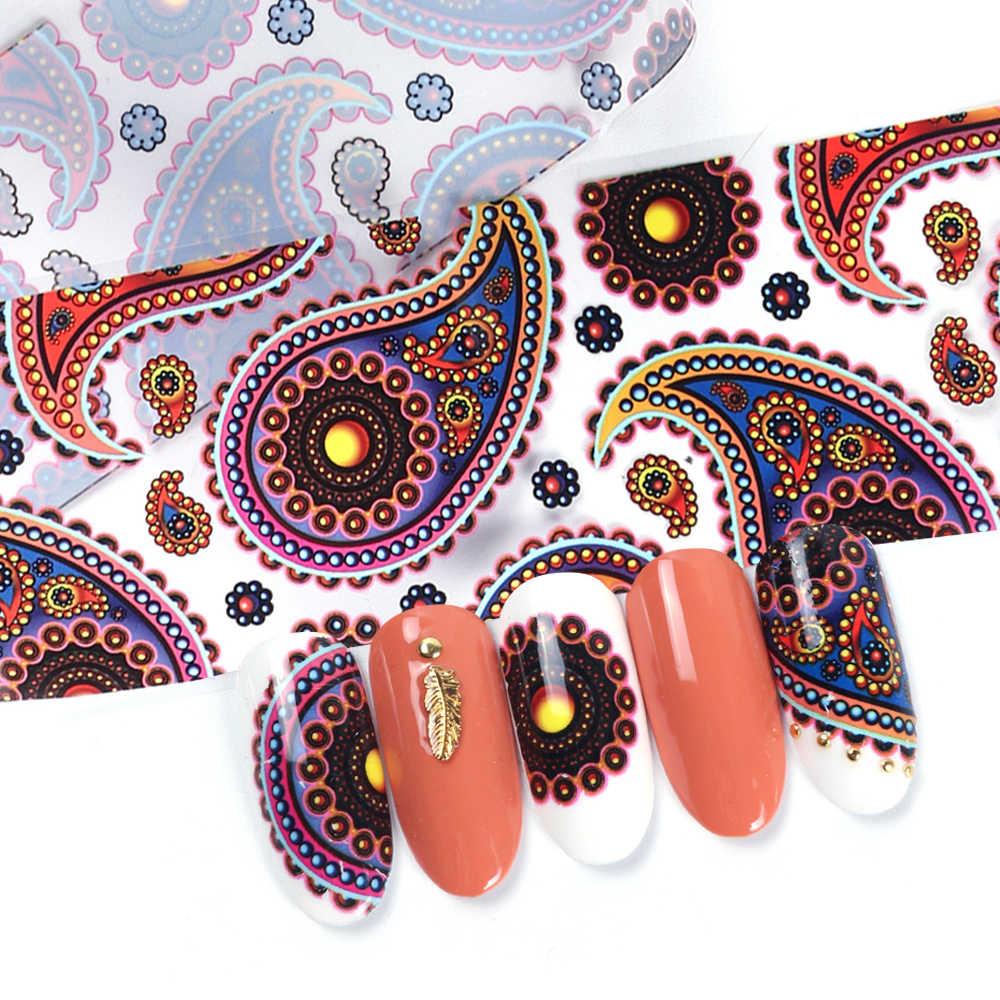10 pièces ongles autocollant Art ensemble transfert feuille pour ongle coloré vigne Totem fleur curseur enveloppe d'ongles feuille décalque décor manucure LA954-1