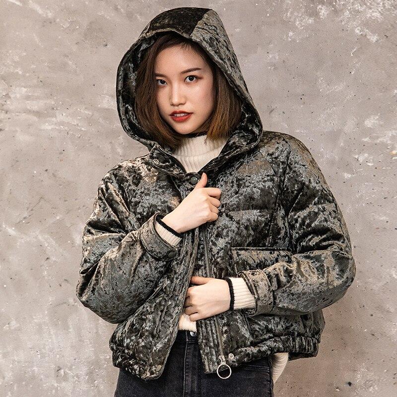 Bling Mode À Femmes Capuchon Vestes Court Lâche Chaud Hiver Blanc Outwear Canard De 2018 Parkas Green Vêtements Duvet Army Femme Manteau E55 qxwIr0Fqa