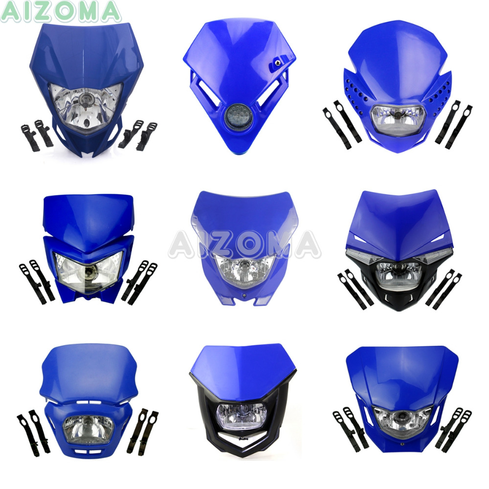 Blue Motocross LED / Bulbs Headlight Fairing For Yamaha XT WR YZ TTR WRF 125/230/250/250F/426/450/450F Supermoto Universal