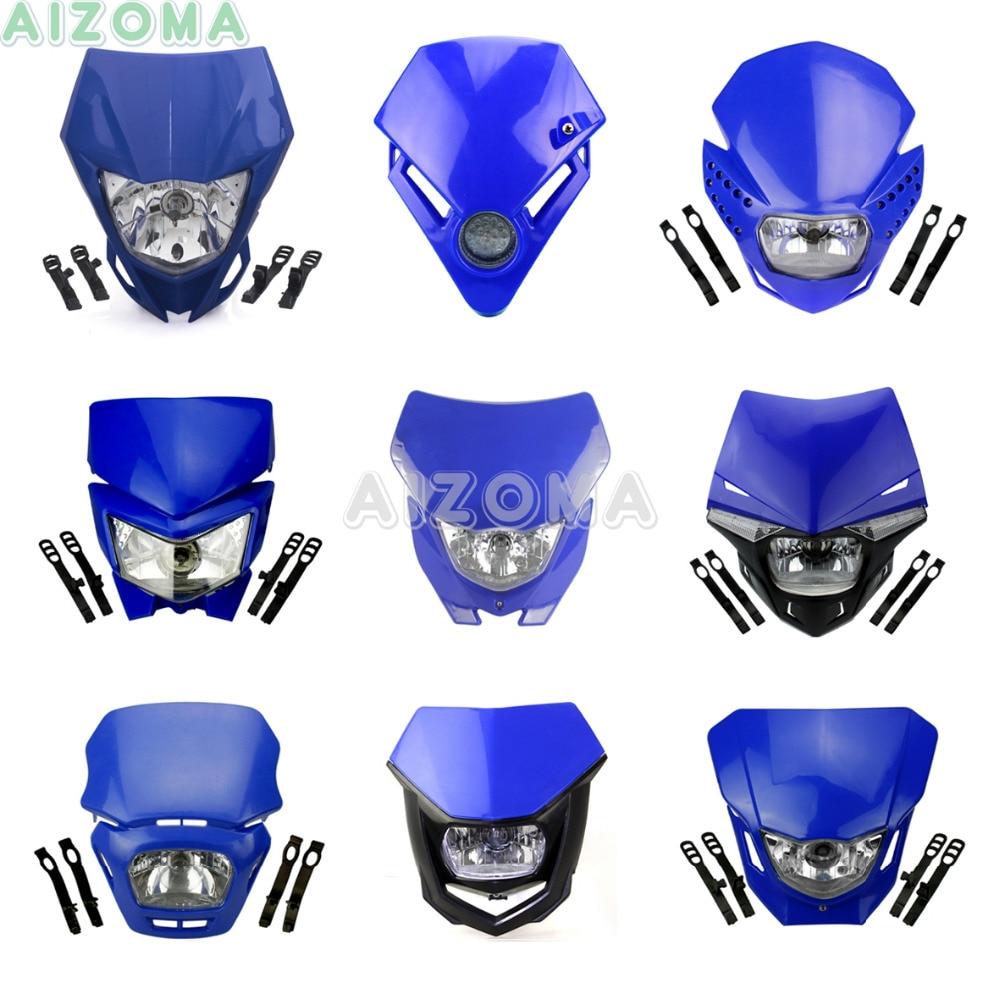 Blue Motocross LED / Bulbs Headlight Fairing For Yamaha XT WR YZ TTR WRF 125/230/250/250F/426/450/450F Supermoto Universal