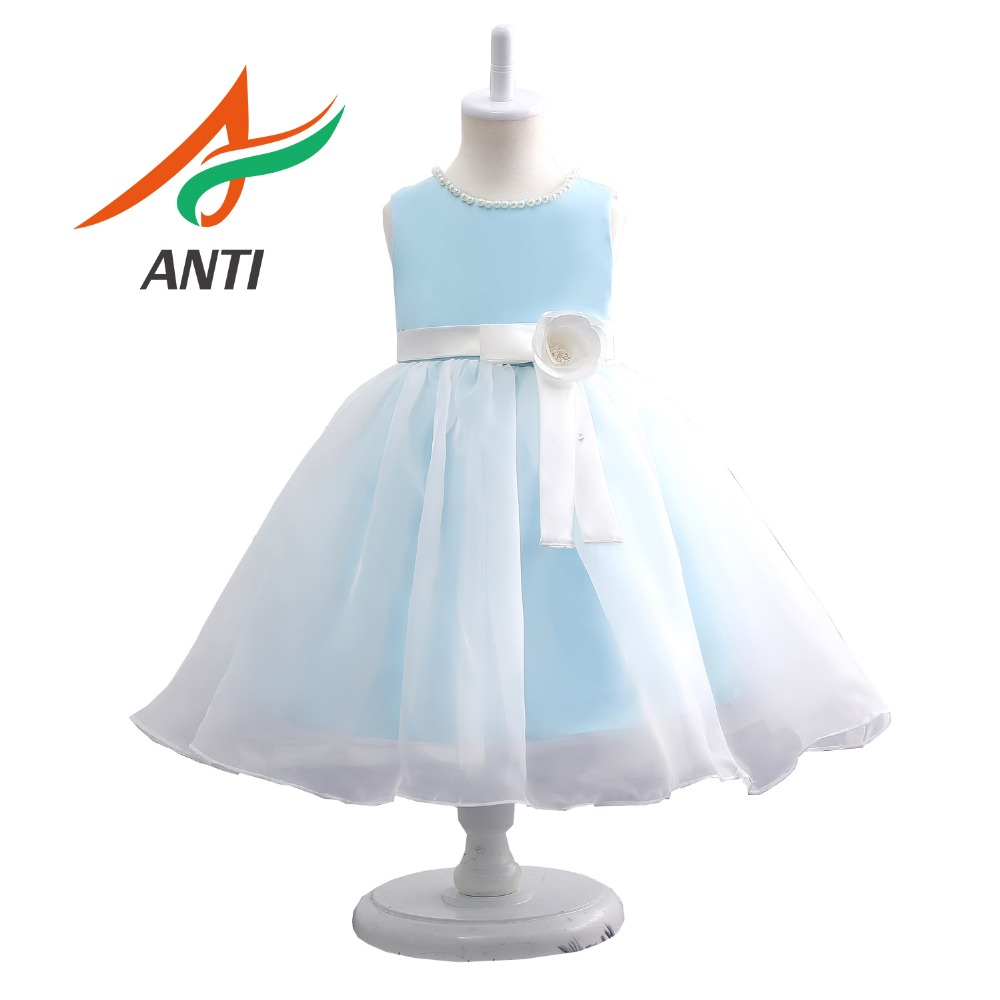 ANTI 2019 New Arrival Beaded   Flower     Girl     Dresses   For Wedding Party Elegant Princess Satin Organza   Girl     Dress   With Bow Sashes