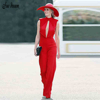 2017 New Women Summer Fashion Runway Jumpsuit Bodysuits Red Cut Out Backless O Neck Sleeveless Celebrity