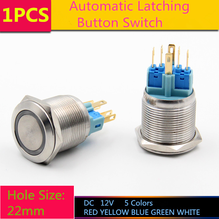 1PCS  YT1079  Hole Size 22 mm  Self-locking Switch  Metal push button switch  With LED Light  DC 12V  Latching Switch