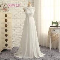Beach Vestido De Noiva 2018 Wedding Dresses A line Cap Sleeves Chiffon Lace Boho Cheap Wedding Gown Bridal Dresses Plus Size