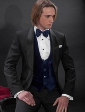 Fashion Style One Button Black Groom Tuxedos Groomsmen Men's Wedding Prom Suits Bridegroom (Jacket+Pants+Vest+Tie) K:559