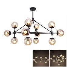 Lustre tipo loft industrial americano, modo de luz led, lâmpada preta, ferro, âmbar, vidro, globo, lâmpada led, vintage, luminária