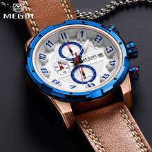 MEGIR Military Mens Watches Waterproof Sport Quartz Watch Men Fashion Business Chronograph Leather Clock Male Relogio Masculino цена и фото