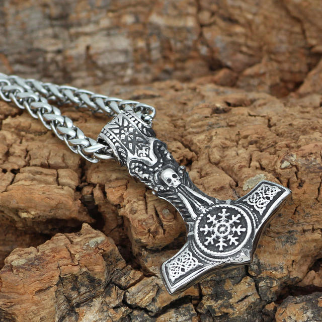 STAINLESS STEEL MJOLNIR THOR HAMMER SKULL NECKLACE