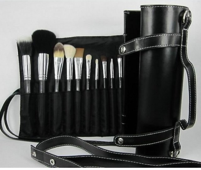Wholesale High Quality 16pcs Eye Makeup Brushes Cosmetic Shadow Brushes Sets Kits with Number and Leather Pouch