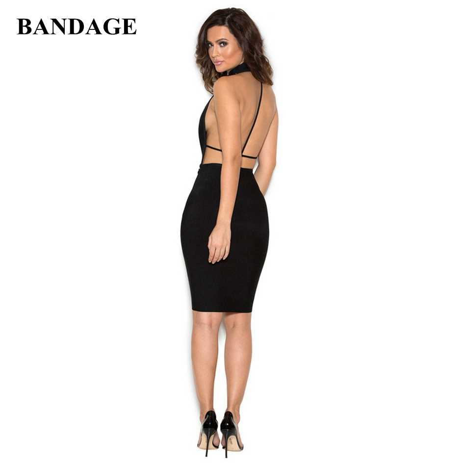 Новые дизайнерские пикантные черные с открытой спиной повязки платья для женщин Дамская мода платья вечеринок высокое качество Bodycon р