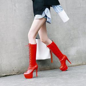 Image 4 - MORAZORA/2020; Новое поступление; Женские сапоги до колена с круглым носком; Осенние сапоги на платформе со шнуровкой; Пикантные сапоги на шпильке; Обувь для выпускного вечера