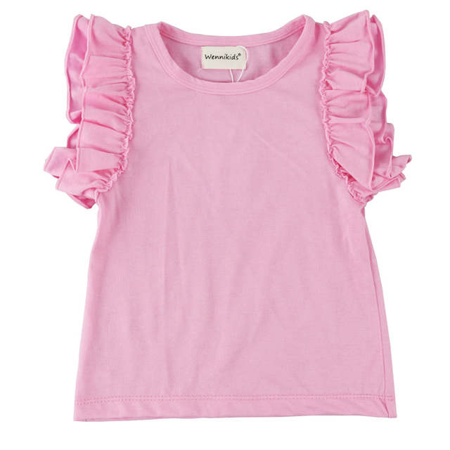 b819329a1238 Online Shop New Design Children Little Girls  Double Ruffle Solid ...
