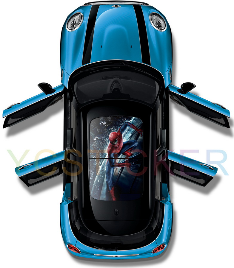 best selling iron man fighting captain america 3d graphics panoramic roof sticker car sunroof film car protection vinyl sticker