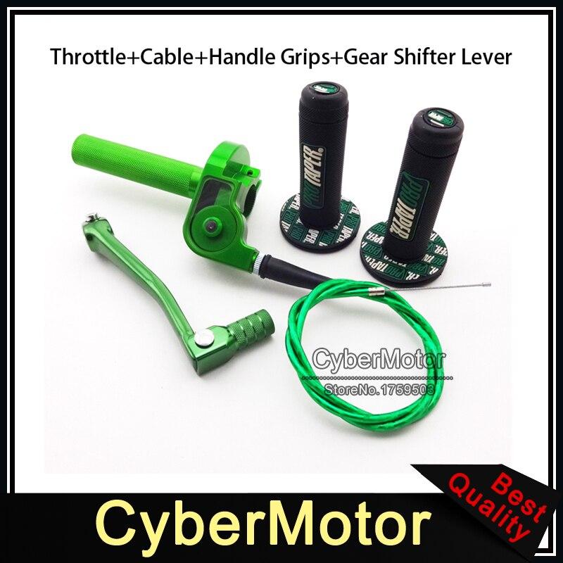 Poignée de câble d'accélérateur torsadé en alliage de CNC vert levier de manette de vitesse de vitesse pliable pour vélo de saleté chinois CRF50 SSR Thumpstar KLX