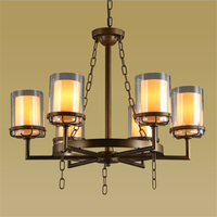 6/8 Head Retro Candle Glass Light Vintage Dining Room Pendant Light Industrial Iron Cafe E27 Light Hotel Light Free Shipping