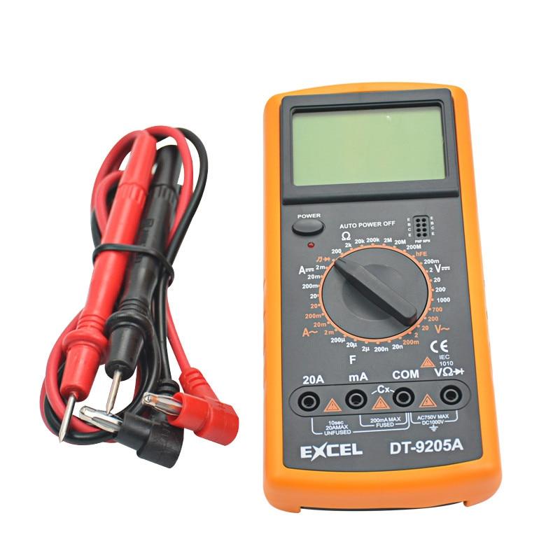 Envío libre DT9205A AC DC pantalla LCD Venta caliente profesional eléctrica Handheld Tester multímetro Digital Multimetro Multitester